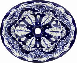 Blue Lace   Handcrafted Mexican Talavera Ceramic Sink