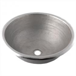 Brushed Nickel Classic Round - Hand Hammered Mexican Copper Sink