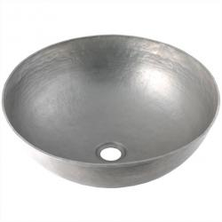 Brushed Nickel Round Vessel - Mexican Copper Hand Hammered Sink