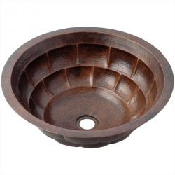 Antique Brick Round Undermount - Hand Hammered Mexican Copper Sink