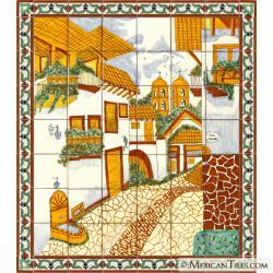 San Miguel Street Handpainted Mexican Talavera Ceramic Tile Mural