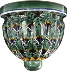 Green Peacock - Mexican Pottery Talavera Wall Planter