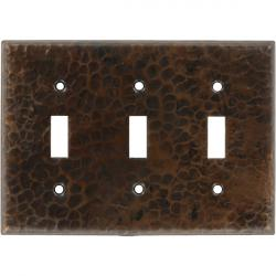 Triple Toggle Antique - Mexican Hammered Copper Switch Plates