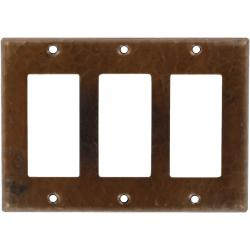 Triple GFI Rocker Antique - Mexican Hammered Copper Switch Plates
