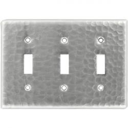 Tripple Toggle Brushed Nickel - Mexican Hammered Copper Switch Plates