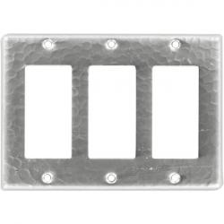 Triple GFI Rocker Brushed Nickel - Mexican Hammered Copper Switch Plates