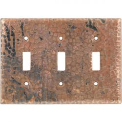 Tripple Toggle Natural - Mexican Hammered Copper Switch Plates