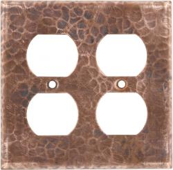 Double Duplex Outlet Natural - Mexican Hammered Copper Switch Plates