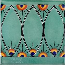Green Peacock Border - Handcrafted Terra Nova Ceramic Mediterraneo Tile
