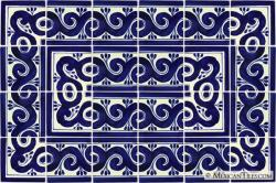 Ola Azul 2 - 24 Tiles - Talavera Mexican Decorative Tile Sets