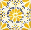 Yellow Lace - Handcrafted Mexican Tile