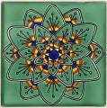Green Peacock - Handcrafted Mexican Tile