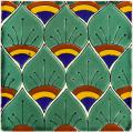 Green Peacock Feathers - Ceramic Hand painted Mexican Talavera Tile