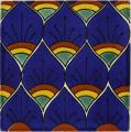Blue Peacock - Ceramic Handcrafted Mexican Talavera Tile Decorative