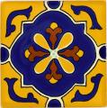 Gold Yellow Libro - Ceramic Hand painted Mexican Talavera Tile