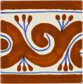 Ola Terra Cotta - Ceramic Hand Painted Mexican Border Tile