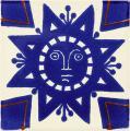Geometric Sun - Handcrafted Mexican Talavera Sun & Moon Tile