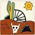 Cactus & Bull - Mexican Talavera Southwest Tile