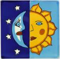 Night & Day - Mexican Decorative Talavera Sun & Moon Tile