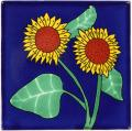 Sunflower 4 - Mexican Decorative Talavera  Flower Tile