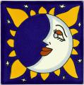Happy Moon - Mexican Talavera Sun & Moon Tile