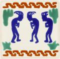 Three Kokopellis - Handcrafted Mexican Talavera Southwest Tile