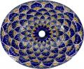 Blue Peacock - Handcrafted Talavera Mexican Oval Drop-in Sink