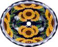 Sunflowers - Handcrafted Talavera Mexican Oval Drop-in Sink