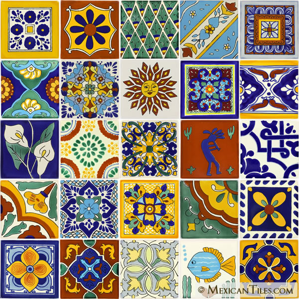Mexican Tile Set Of 25 4 X 4 Mexican Talavera Tiles