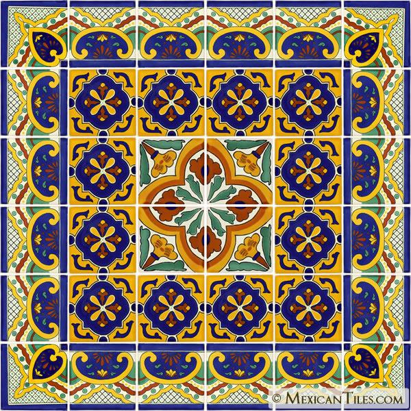 Mexican Tile Decorative Talavera Tile Set X7043
